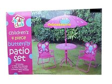 Kids 4 Pc Parasol Pink BUTTERFLY GARDEN PATIO SET with Chairs & Sunshade Table
