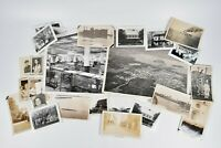 Vintage Lot 25 Photographs Factories, People, Ships, Homes Costumes Aerial View