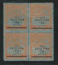 "Venezuela: 1937, Scott C43 block 04 surcharge in black ""...vale por..."" VE2643"