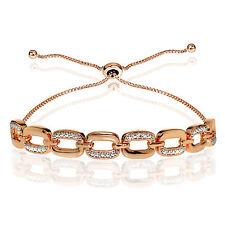 Rose Gold Flash Silver Diamond Accent Rectangle Link Adjustable Bolo Bracelet
