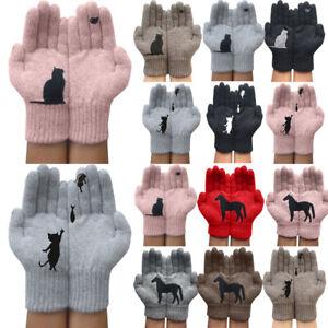 Frauen Winter Handschuhe Thermo Warm Strickhandschuhe Tier Volle Finger Gloves