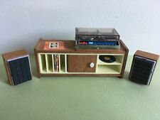 VINTAGE LUNDBY DOLL HOUSE STEREO, SPEAKERS and CABINET W/ RECORDS? Ex Condition