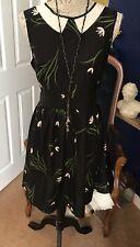 Bastante negro con cinturón vestido de té Ditsy Dorothy Perkins Nuevo Moda Vestido SZ 14.50p!