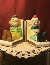 New ListingLefton Taiwan Exclusives Vintage Hand Painted Ceramic Matte Clown Book Ends