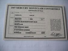 Danbury Mint 1957 Mercury Montclair Blue 1/24 Scale Paper Work Only No Car