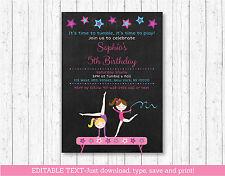 Gymnastics Chalkboard Birthday Invitation Printable Editable PDF