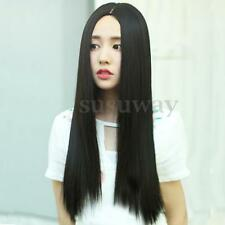 70cm Long Straight Black Lace Front Wig Heat Resistant Synthetic Hair Silky