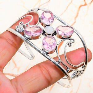 Pink Kunzite, Moonstone Gemstone Handmade Cuff Jewelry Bracelet Adjustable G722