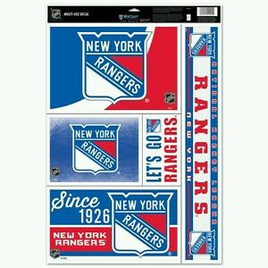"""NEW YORK RANGERS 5 PIECE MULTI-USE DECALS 11""""X17"""" SHEET PERFECT FOR WINDOWS"""