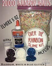 Make your own Slime  RAINBOW WHITE Foam Styrofoam Beads Glitter Glue Slime Kit