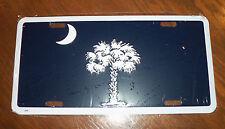"South Carolina State Flag Metal License Plate Car Tag 6""x12"" Palmetto Palm"