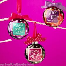 Set of 3 MAMA needs a COCKTAIL BFF Wine Glass ornaments NEW FREE SHIPPING