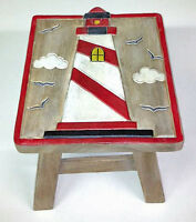 FOOTSTOOLS - LIGHTHOUSE WOODEN FOOTSTOOL - LIGHTHOUSE FOOT STOOL - NAUTICAL