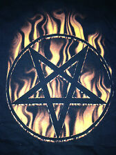 The Flaming Pentagram Burns XL t-shirt Satanic Devil Lucifer Pagan Black Metal