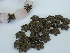 50 pce Antique Bronze Leaf Flower Bead Caps 10mm