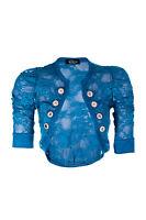 Womens Lace Cropped Bolero Cardigan Military Style Four Button Shrug Size 8-14