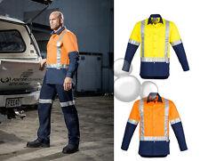 Mens Hi-Vis Long Sleeve Industrial Shirt Size S to 7XL 100% Cotton Orange Yellow