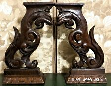 Pair scroll griffin carving corbel bracket Antique french architectural salvage