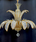 Vintage PALWA Crystal Beaded Palm Frond Chandelier Hollywood Regency Mid Century