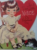 Vtg GIRL Glitter DRESS Kitten RUST CRAFT Dbl Side NIECE VALENTINE GREETING CARD