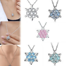 Women Silver Frozen Snowflake Crystal Necklace Pendant Chain Christmas Jewelry