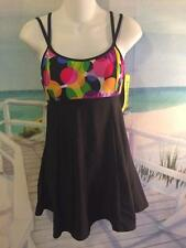 16 MISSES SWIMDRESS BABYDOLL COLORFUL DOTS BATHING SUIT FLOWING EMPIRE WAIST 16W