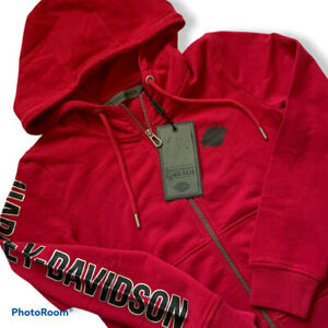 Harley Davidson Hoodie Zip Sweater Jacket Red Womens Size XS X-Small NWT