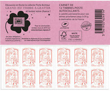 france 2014 Marianne and youth red Grand coverage stamp scratch game FUSHIA 12V