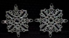 2 Large Clear Plastic Acrylic Snowflake Ornaments W/ Sparkly Multicolor Glitter