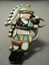 VERY LARGE VINTAGE ZUNI TURQUOISE STERLING SILVER KACHINA DANCER RING