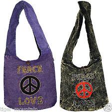 NEW Hippy Boho LARGE Shoulder/Cross Body Bag STONEWASH with Peace Love CND