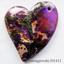 Beautiful Purple Sea Sediment Jasper & Pyrite Heart Pendant Bead D0075175