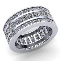 Real 6Ct Princess Cut Diamond Ladies Promise Wedding Eternity Band 18K Gold