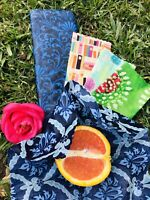 Organic Beeswax food Wraps, PACK OF TWO! Large + Medium. Eco Friendly!