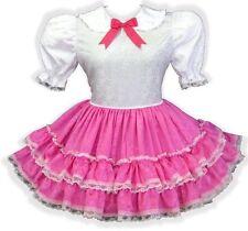 """Leona"" Custom Fit HOT PINK & White Satin Adult Baby LG Sissy Dress LEANNE"