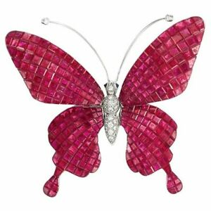 Invisible set Ruby Butterfly Brooch Princess-cut CZ Solid 925 Sterling Silver