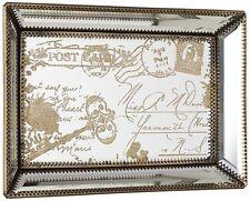 Vintage Gold Script Mirrored Tray Perfume Bathroom Storage Bedroom Dresser Decor