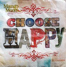 eVERGREEN Mango Moon Set of 20 Cocktail Beverage Napkins - Choose Happy