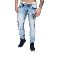 Herren Denim stretch Jeans Hose Slim Fit Vintage bleached 5-Pocket destroyed