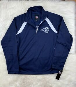 NFL Los Angeles Rams 1/4 Zip Embroidered Track Jacket, Navy Blue, NEW Men's M