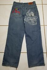 Men's Evisu  Indigo Blue Jeans Denim Pants Size 36x32 Distressed B1471