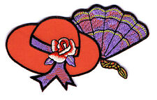 Red Hat Lady Society - Red Hat W/Rose & Fan Embroidered Iron On Applique Patch