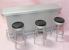 Dollhouse Miniature Retro Style Bar Counter with Stools Silver 1:12 Scale