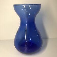 Piccolo Vaso Vintage In Vetro Blu Forma Originale H 15,5 D 9 Cm