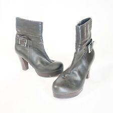Marc Fisher Brown Leather Buckle Side Zip Platform Block Heel Boots Womens 7.5 M
