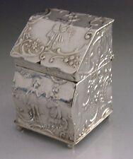 RARE NOVELTY BUREAU DESK STERLING SILVER SNUFF BOX 1906 ANTIQUE CHESTER