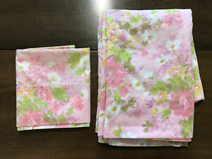VTG FIELDCREST PERFECTION Pink Floral Twin FLAT SHEET & Pillowcase Lot EUC