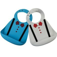 silicone bib with food catcher . Blue and white-2 pack