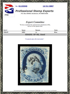 #9 Used PSE Graded 90 with a Town Cancel, PSE Cert # 01153345
