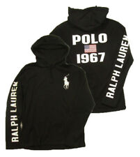 Polo Ralph Lauren Men's Big Pony Black Pullover Graphic Hooded T-Shirt